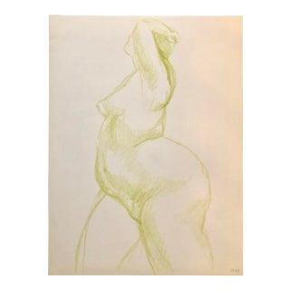 1960s Crayon Woman Figure by M.Bevington For Sale