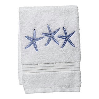 Blue Three Starfish Guest Towel White Terry, Embroidered For Sale