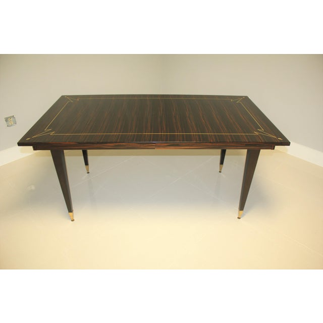 Brass 1940s French Art Deco Exotic Macassar Ebony Writing Desk / Dining Table For Sale - Image 7 of 13