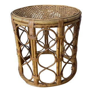 Vintage Boho Chic Bamboo and Rattan Drum Side Table For Sale
