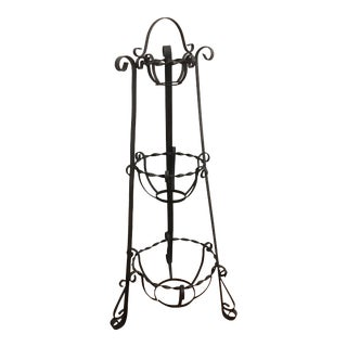 1920s Vintage Iron Tiered Plant Stand For Sale