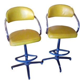 Vintage Mid Century Yellow Chrome Bar Chairs- a Pair For Sale