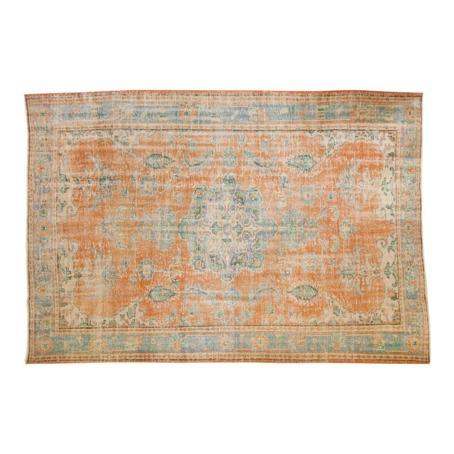 "Vintage Distressed Oushak Carpet - 6'4"" X 9'3"" For Sale"
