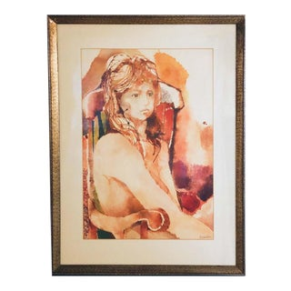 Myra Sides Copus Original Watercolor Painting Portrait of a Girl For Sale