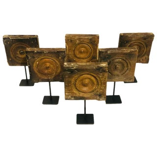 Collection of 6 Antique Architectural Bulls Eye Corner Moldings on Stands For Sale