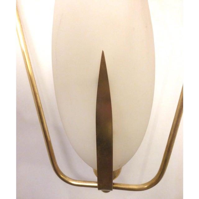 Mid-Century Brass & Glass Pendant Light - Image 7 of 8