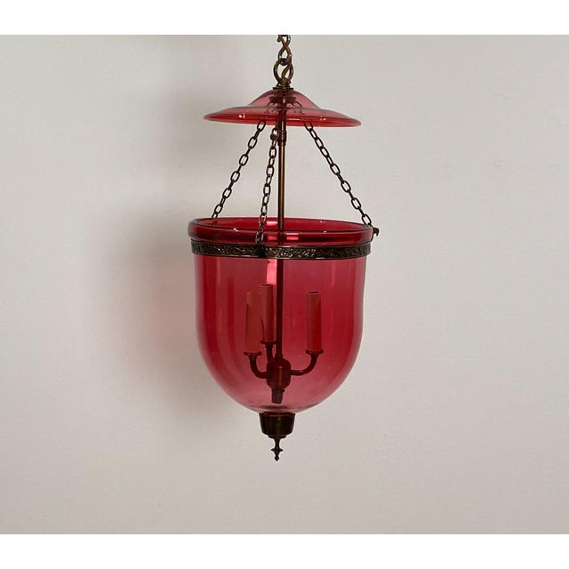 Vintage Red Glass Bell Jar Lantern, India Circa 1960 For Sale In San Francisco - Image 6 of 6