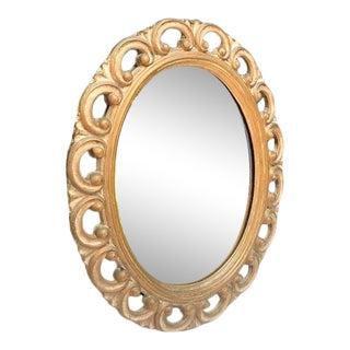 Vintage Oval Gold-Frame Mirror For Sale