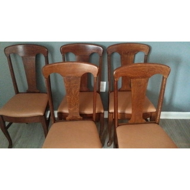 Queen Anne Style Antique Oak Dining Chairs - S/5 - Image 3 of 5
