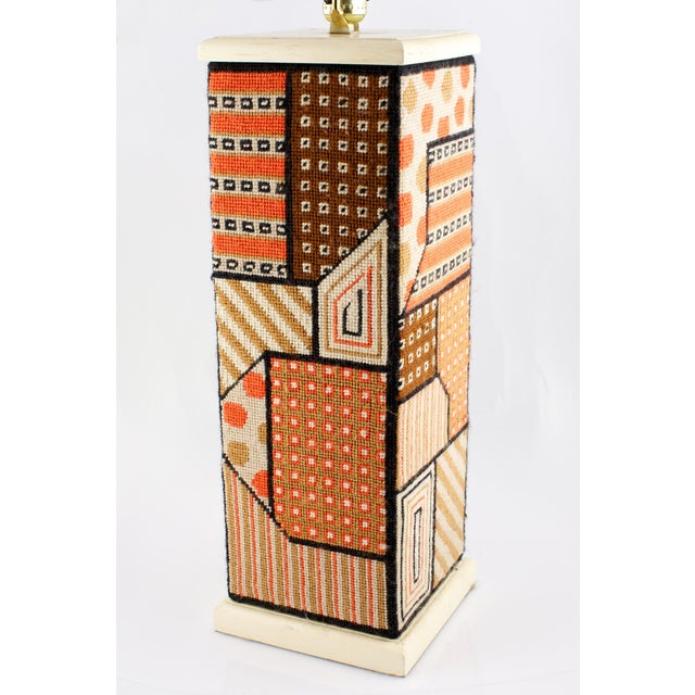 Geometric Needlepoint table lamp ca 1960's
