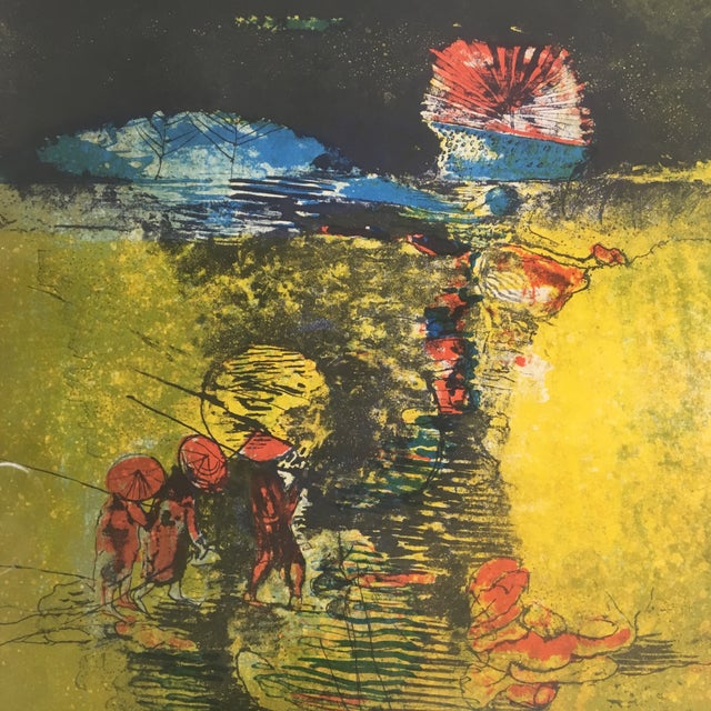 "Late 20th Century Late 20th Century ""Fishermen and Junk Boat"" Signed Lithograph by Lebadang, Framed For Sale - Image 5 of 8"