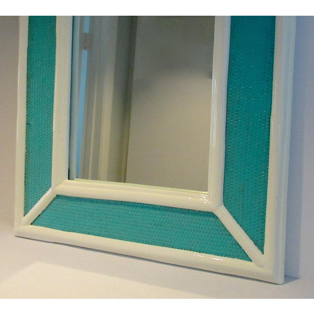 Wicker Vintage C.1960's Palm Beach Style Bamboo & Wicker 2-Tone High Gloss Lacquered Mirror For Sale - Image 7 of 12