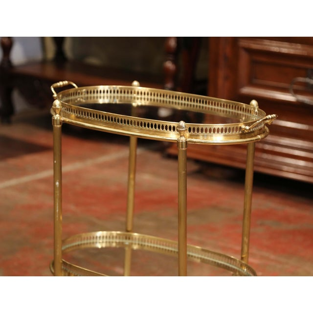 Art Deco Early 20th Century, French Oval Brass Dessert Table or Bar Cart on Wheels For Sale - Image 3 of 9