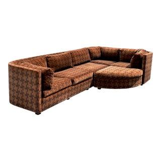 1970s Vintage Milo Baughman Style Velvet Sectional Sofa For Sale