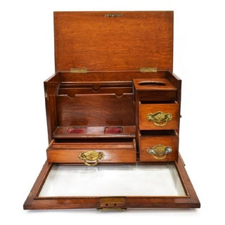 19Th Century English Oak Travel Stationary Writing Desk Box Preview