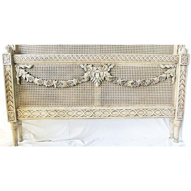 French Vintage Louis XVI Style Caned Bed, Queen For Sale - Image 3 of 10
