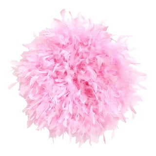 Feathered Juju Hat Inspired Textile Decor Piece - Pink For Sale