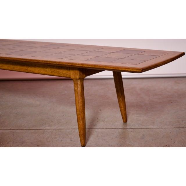 Brown 1950s Art Deco Tomlinson Burlwood & Oak Coffee Table For Sale - Image 8 of 12