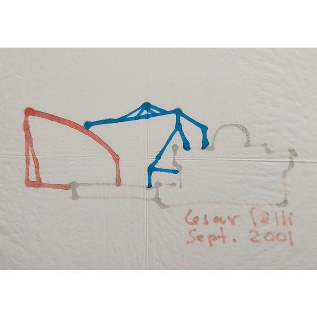 La Pacific Design Center Architect Napkin Sketch by Cesar Pelli For Sale - Image 4 of 9