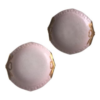 Antique Limoges Pink Gilt Dishes-A Pair