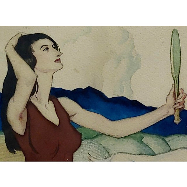 Paul Julian - Pretty Woman in a Surreal Background -1930s Painting For Sale In Los Angeles - Image 6 of 10