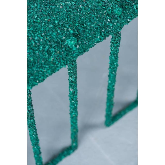 Hand Made Coffee Table of Crushed Malachite of the Congo, by Samuel Amoia For Sale - Image 4 of 10