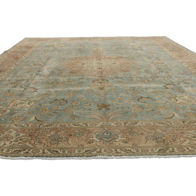 Modern Vintage Tabriz Rug With Gustavian Style - 09'09 X 12'07 For Sale - Image 3 of 10