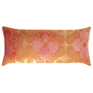 Persian Velvet Large Boudoir Pillow in Pink & Gold