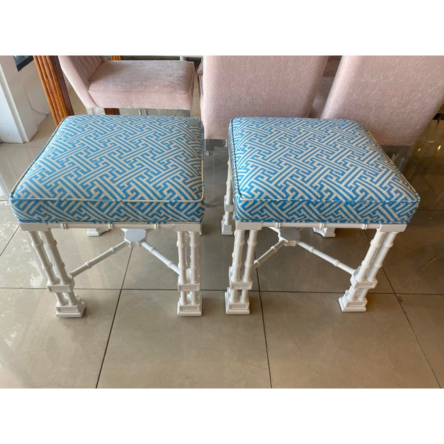 Vintage Palm Beach Faux Bamboo Blue & White Lacquered Greek Key Upholstered Benches Stools -A Pair For Sale - Image 13 of 13
