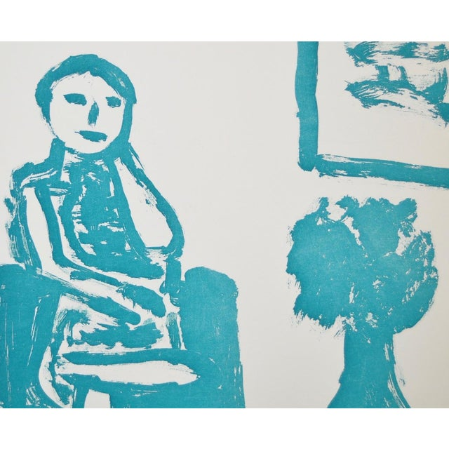 "Arthur Krakower ""Seated Woman With Flowers "" Original Monotype For Sale - Image 5 of 5"