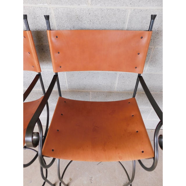Charleston Forge Wrought Iron Slight Leather Seat Bar Stools - a Pair For Sale - Image 9 of 13