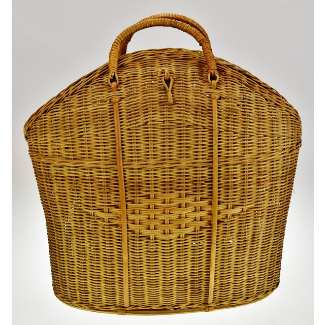 Vintage Wicker Tote Basket Condition consistent with age and history. Missing latch. Please use zoom feature to check item...