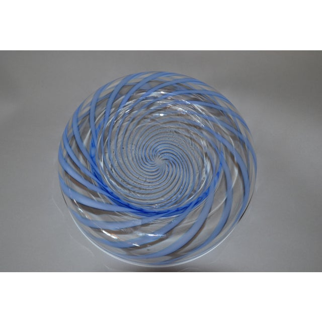 Blue Original Tommaso Barbi Italian Murano Clear & Blue Decorative Candy Dish Bowl For Sale - Image 8 of 11