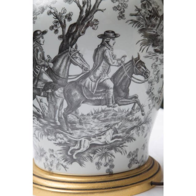 Ceramic Black and White French Toile Motif Lamp For Sale - Image 7 of 8