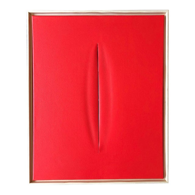 Abstract Red Slice Modern Art Painting by Tony For Sale - Image 3 of 3