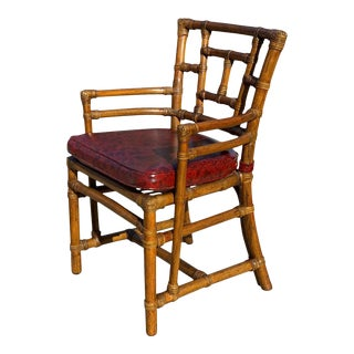 Vintage Boho Chic Rattan Bamboo Club Chair by McGuire San Francisco For Sale