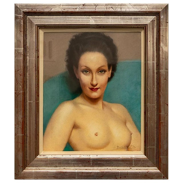Blue 1920s Pastel Portrait Female Nude by Listed Artist Robert Louis Raymond Duflos For Sale - Image 8 of 8