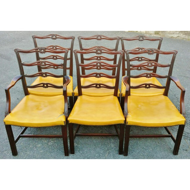 19th C. Antique English Carved Mahogany Chippendale Dining Chairs- Set of 6 For Sale In New York - Image 6 of 6