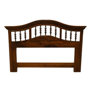 Vintage Mid Century Ethan Allen Pine Old Tavern Queen Size Headboard For Sale