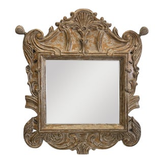Late 20th Century Overscaled Hand Carved Wood Neoclassical Mirror For Sale
