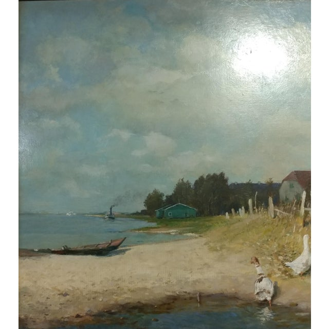 """Impressionism Gari Melchers """"Belmont Lakeshore View"""" Oil Painting c.1920s For Sale - Image 3 of 10"""