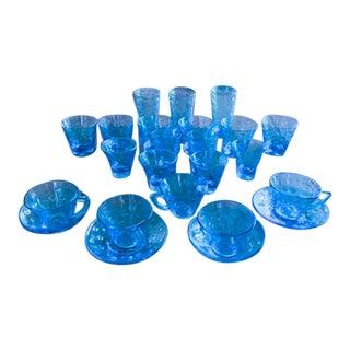 Set of 24 Mid Century Blue Glasses - Cocktail, Shot, Drink, Tea Cup For Sale
