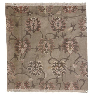 20th Century Chinoiserie Square Tibetan Rug - 8′ × 8′3″ For Sale
