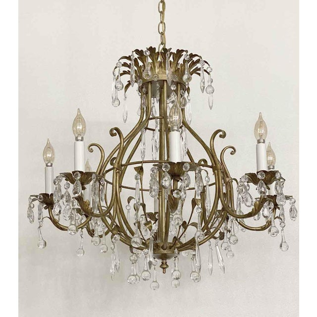 Traditional Florentine Style Crystal & Gilt Metal Chandelier For Sale - Image 3 of 10