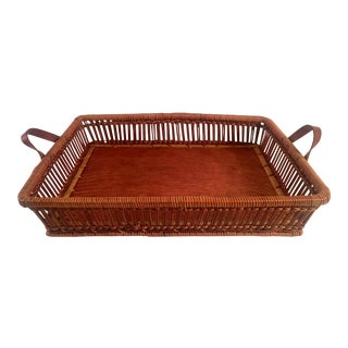 Mid-Century Rattan & Wood Leather-Handled Serving Tray For Sale