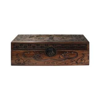 Chinese Huali Rosewood Light Brown Rectangular Motif Storage Box For Sale