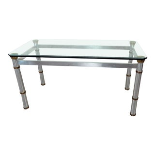 Mid-Century Modern Chrome and Glass Dining Table Attributed Vesey For Sale