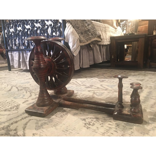 Antique Distressed Red Spinning Wheel For Sale - Image 4 of 11