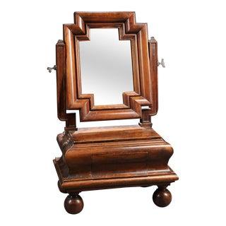 Sculptural European Walnut Dressing Table Mirror