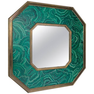 1970s Faux Painted Malachite Mirror by Sarreid For Sale